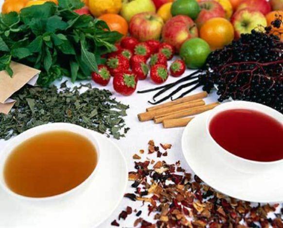 синий чай и фрукты из тайланда
